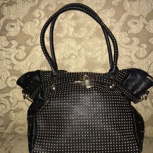 Black leather melie bianco large tote